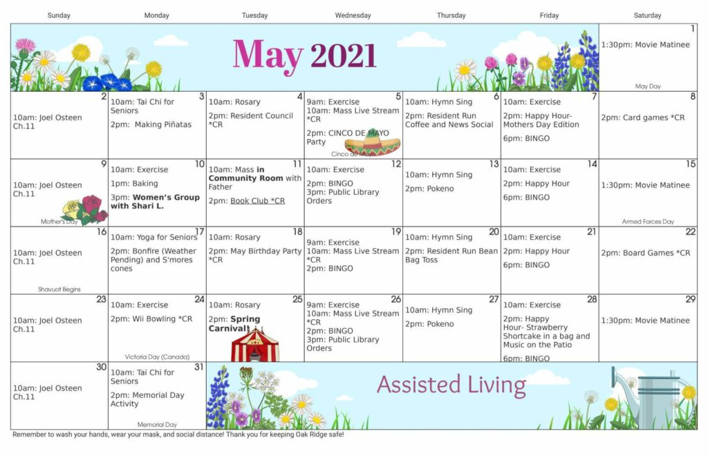 May 2021 Assisted Living Calendar
