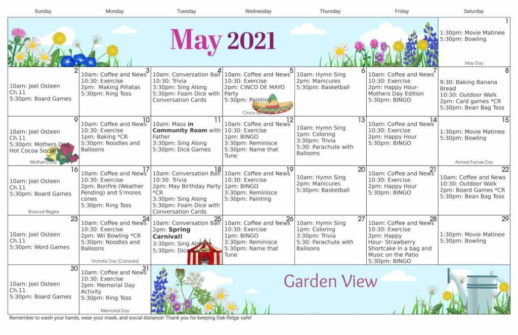 May 2021 Garden View Calendar