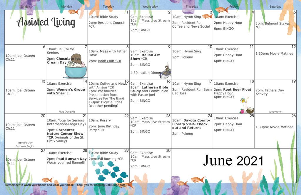 Assisted Living Activity Calendar June 2021