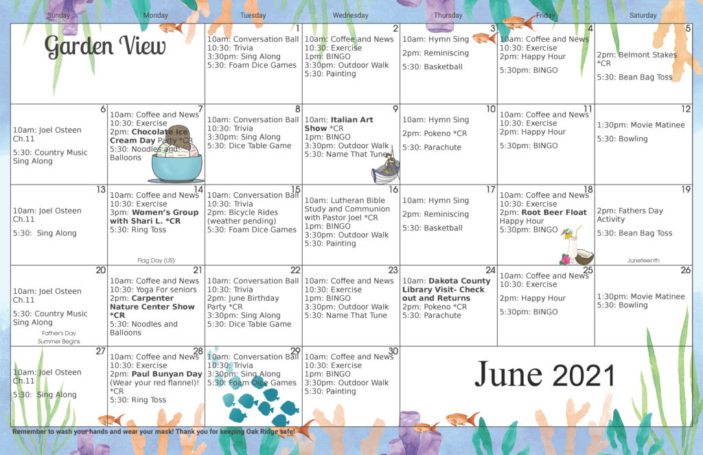 Memory Care Activity Calendar June 2021