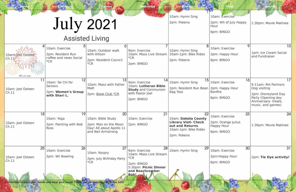 July 2021 Assisted Living Activity Calendar