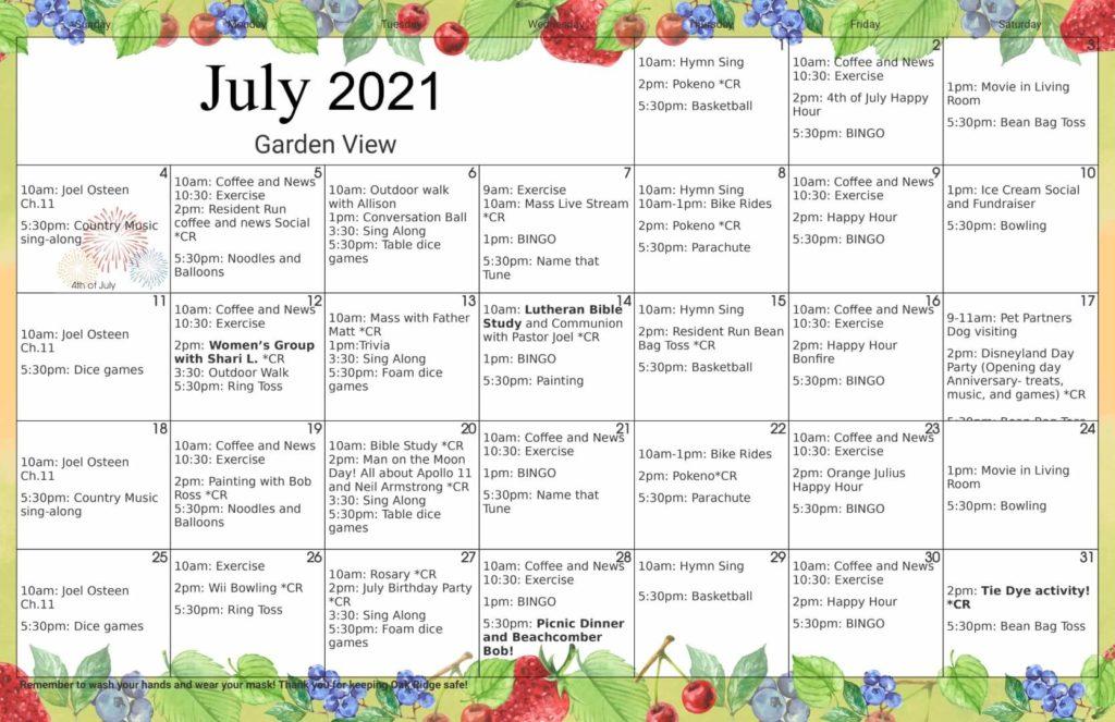 July 2021 Memory Care Activity Calendar